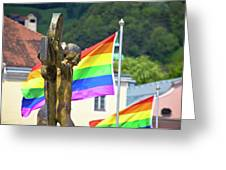 Jesus Christ Crucifixion And Gay Pride Flags View Greeting Card