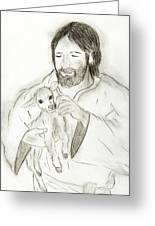 Jesus Holding Lamb Greeting Card by Sonya Chalmers