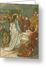 Jesus In Front Of Pilate Greeting Card