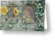 Jesus Looking Through A Lattice With Sunflowers Greeting Card