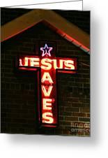 Jesus Saves In Neon Lights Greeting Card