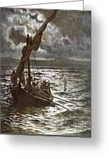 Jesus Walking Upon The Sea Greeting Card