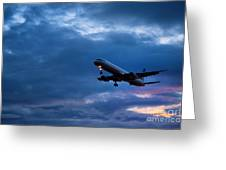 Jet Airlpane In Flight Greeting Card