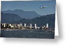 Jet Plane Taking Off From Puerto Vallarta Airport With Pacific O Greeting Card