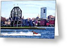Jet Skiing By Colgate Clock Greeting Card