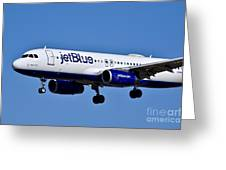 jetBlue Airlines plane in flight Greeting Card