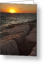 Jetties At Port Aransas Texas Gulf Coast Greeting Card