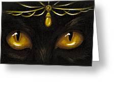 Jeweled Kitty Amber Greeting Card