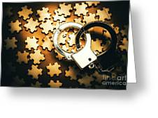 Jigsaw Of Misconduct Bribery And Entanglement Greeting Card