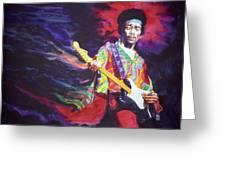 Jimi Hendrix Dissolve Greeting Card