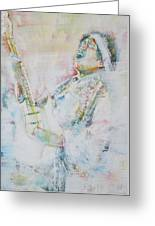 Jimi Hendrix Playing The Guitar.9 - Watercolor Portrait Greeting Card
