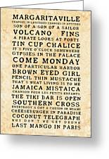Jimmy Buffett Concert Set List Old Style Black Font On Tequila Sunrise  Parchment by John Stephens