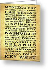 Jimmy Buffett Margaritaville Locations Black Font On Yellow Brown Texture Greeting Card