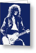 Jimmy Page In Blue Portrait Greeting Card