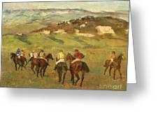 Jockeys On Horseback Before Distant Hills Greeting Card by Edgar Degas
