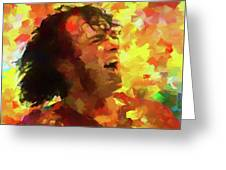 Joe Cocker Colorful Palette Knife Greeting Card