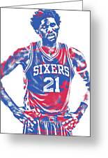 Joel Embiid Philadelphia Sixers Pixel Art 10 Greeting Card
