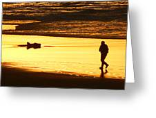 Jog At Sunset Greeting Card