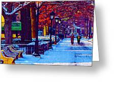 Jogging In The Snow Along Boathouse Row Greeting Card