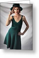 Johanne In Green Greeting Card