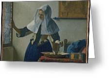 Johannes Vermeer Young_woman Greeting Card