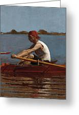 John Biglin In A Single Scull Greeting Card