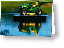 John Deere Mows The Water No 2 Greeting Card