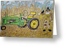 John Deere Tractor And The Scarecrow Greeting Card