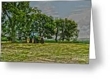 John Deere Tractor At Dusk Greeting Card