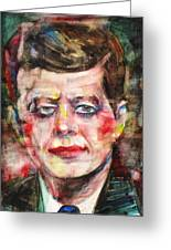 John F. Kennedy - Watercolor Portrait.3 Greeting Card