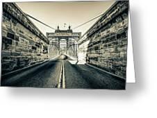 John Roebling Bridge Entrance - Cincinnati Ohio Sepia Print Greeting Card