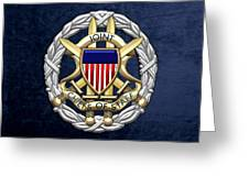 Joint Chiefs Of Staff - J C S Identification Badge On Blue Velvet Greeting Card