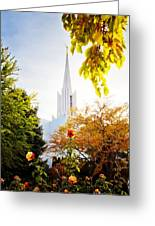 Jordan River Temple Rose Greeting Card by La Rae  Roberts