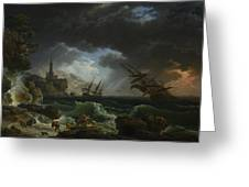 Joseph Vernet   A Shipwreck In Stormy Seas Greeting Card