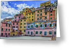 Joy In Colorful House In Piazza Di Riomaggiore, Cinque Terre, Italy Greeting Card