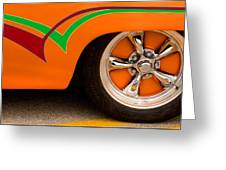 Joy Ride - Street Rod In Orange, Red, And Green Greeting Card
