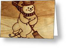 Joyful Snowman  Coffee Paintings Greeting Card