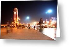 Jp025 The Clock Tower On The Malviya Dwipa At Har-ki-pauri Greeting Card