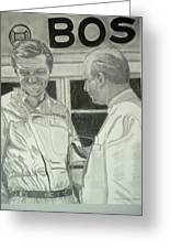 Juan Manuel Fangio And Graf Berghe Von Trips Greeting Card