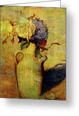 Jug With Yellow And Violet Flowers Greeting Card