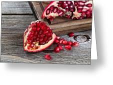 Juicy Ripe Pomegranates On Vintage Wood  Greeting Card