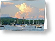 July Sky Over A Maine Harbor Greeting Card