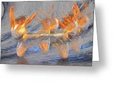 Jumped Over The Freeway - Dancing California Fires Greeting Card