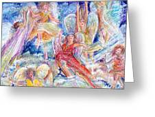 Jumping For Joy Angels Greeting Card