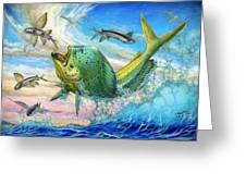 Jumping Mahi Mahi And Flyingfish Greeting Card