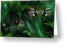 Jungle Eyes - Panther And Ocelot  Greeting Card
