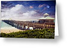 Juno Beach Pier Treasure Coast Florida Seascape Dawn C5a Greeting Card