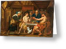 Jupiter And Mercury In The House Of Philemon And Baucis Greeting Card
