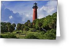 Jupiter Lighthouse Sq Greeting Card
