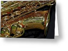 Jupiter Saxophone Greeting Card by Michelle Calkins